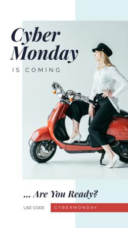 Cyber Monday Sale Stylish girl on retro scooter Instagram Story – шаблон для дизайна