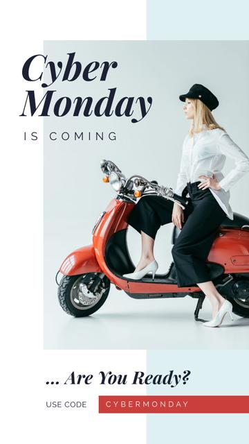 Template di design Cyber Monday Sale Stylish girl on retro scooter Instagram Story