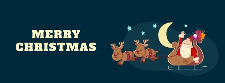 Template di design Christmas Greeting Santa Riding in Sleigh Facebook Video cover
