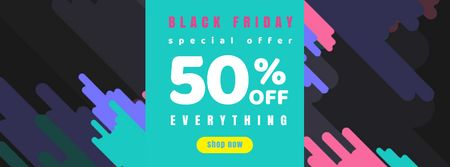 Black Friday Sale on colorful pattern Facebook Video cover – шаблон для дизайну
