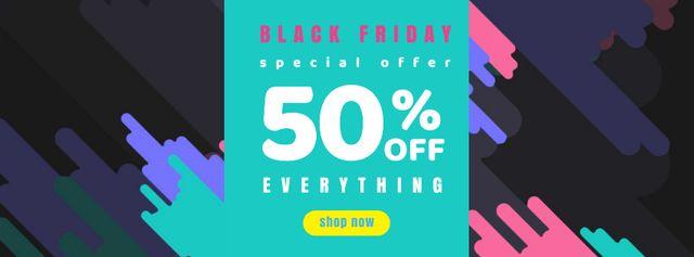 Black Friday Sale on colorful pattern Facebook Video cover – шаблон для дизайну
