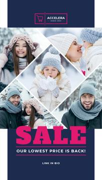 Clothes Sale Parents with Kids Having Fun in Winter
