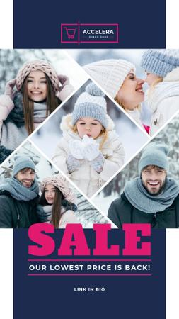 Template di design Clothes Sale Parents with Kids Having Fun in Winter Instagram Story