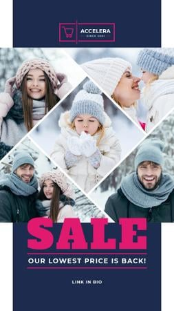 Clothes Sale Parents with Kids Having Fun in Winter Instagram Story Modelo de Design
