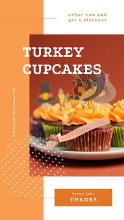 Thanksgiving feast cupcakes Instagram Story Modelo de Design
