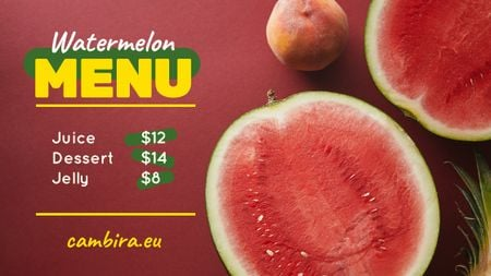 Plantilla de diseño de Summer Menu Watermelon and Peach on Red Title