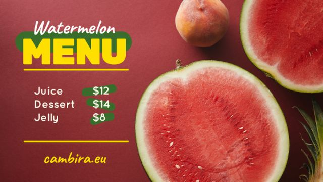 Plantilla de diseño de Summer Menu Watermelon and Peach on Red Title