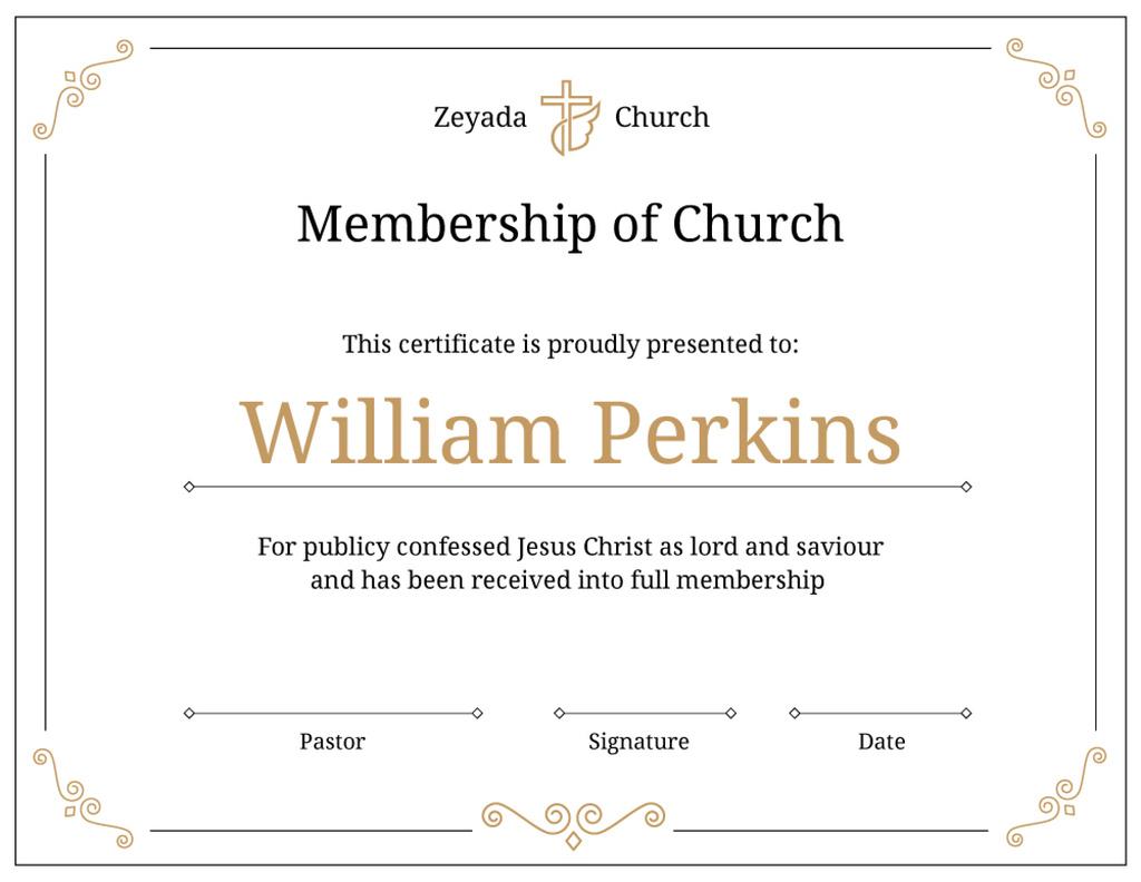 Church Membership confirmation in golden — Modelo de projeto
