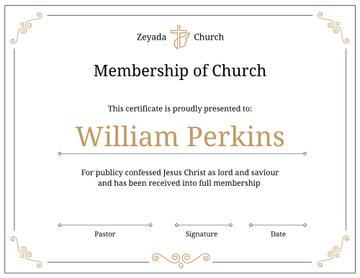 Church Membership confirmation in golden