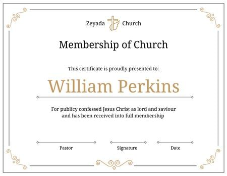 Plantilla de diseño de Church Membership confirmation in golden Certificate