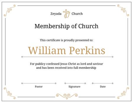 Church Membership confirmation in golden Certificate – шаблон для дизайна