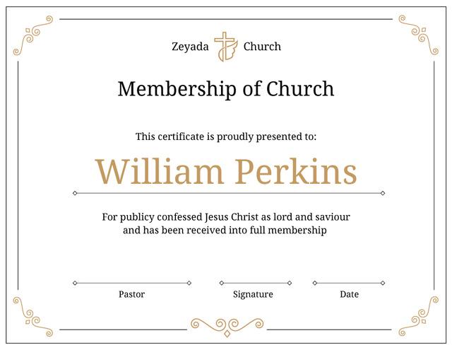 Church Membership confirmation in golden Certificate Tasarım Şablonu