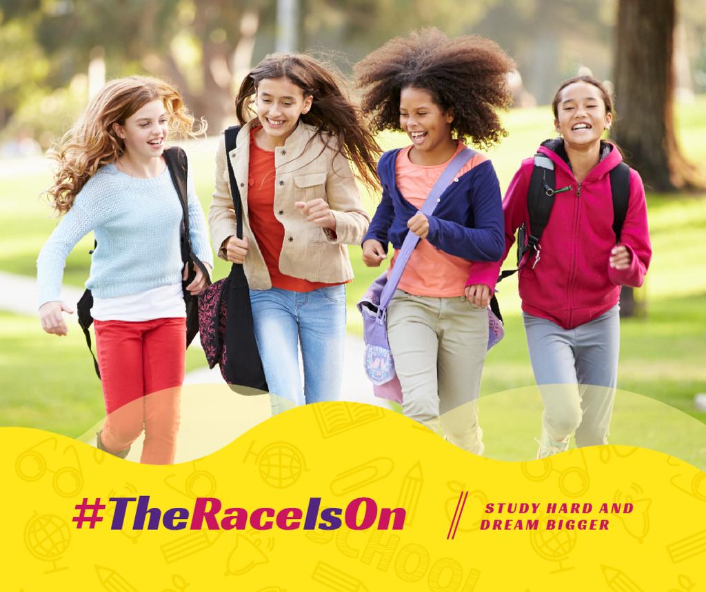 Kids running with backpacks — ein Design erstellen
