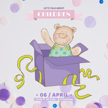 Ontwerpsjabloon van Animated Post van Teddy bear in Gift box