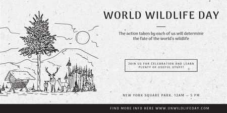 Plantilla de diseño de World Wildlife Day Event Announcement with Nature Drawing Twitter