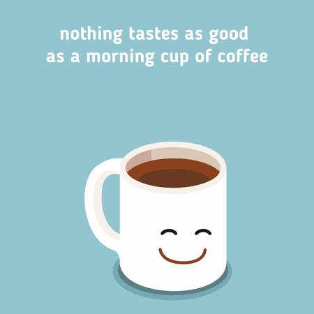 Happy Smiling cup of Coffee Animated Post Modelo de Design