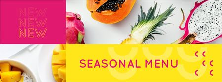 Fresh tropical Fruits menu Facebook cover Tasarım Şablonu