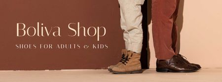 Template di design Shop Ad with Male Shoes Facebook cover