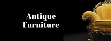 Antique Furniture Auction Luxury Yellow Armchair Facebook cover – шаблон для дизайну