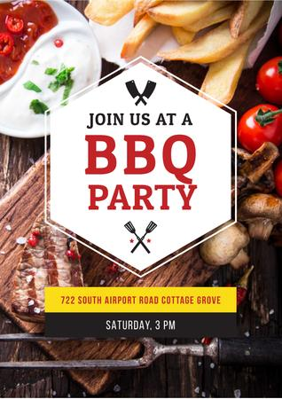 Plantilla de diseño de BBQ party Invitation Poster
