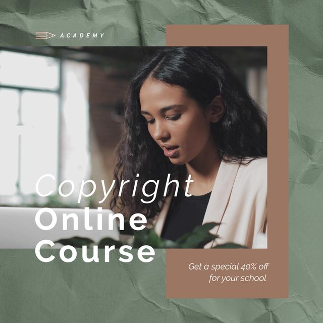 Online Courses Ad with Woman Typing on Laptop Animated Post Design Template