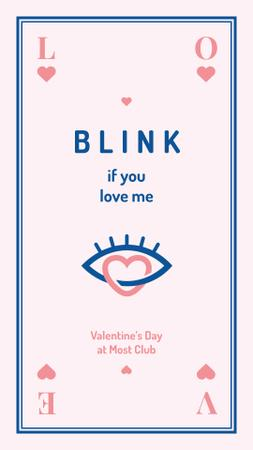 Plantilla de diseño de Valentine's invititation with Heart and eye icon Instagram Story