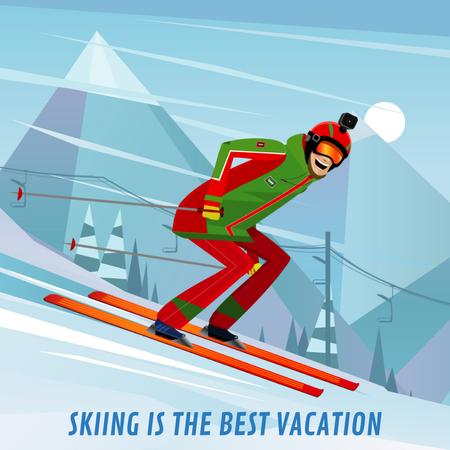 Ontwerpsjabloon van Animated Post van Skier on a snowy slope