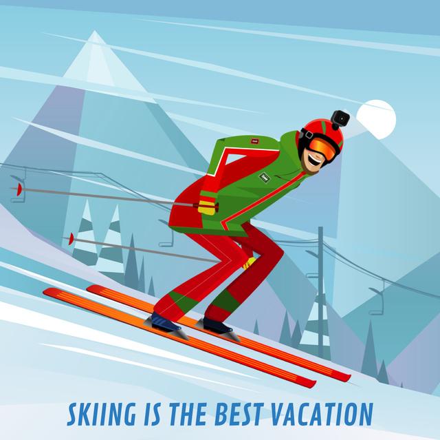 Skier on a snowy slope Animated Post – шаблон для дизайну