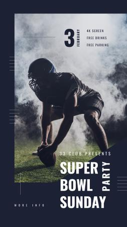 Super Bowl Party Invitation with American football player Instagram Story Design Template