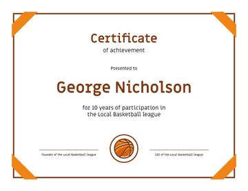 Basketball League participation anniversary Achievement