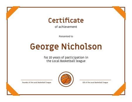 Basketball League participation anniversary Achievement Certificateデザインテンプレート