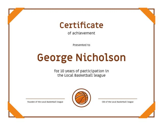 Basketball League participation anniversary Achievement Certificate Modelo de Design