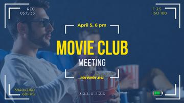 Movie Club Invitation People Watching Cinema in 3d | Facebook Event Cover Template