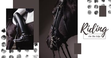 Horse Rider in Saddle in Black and White | Facebook AD Template