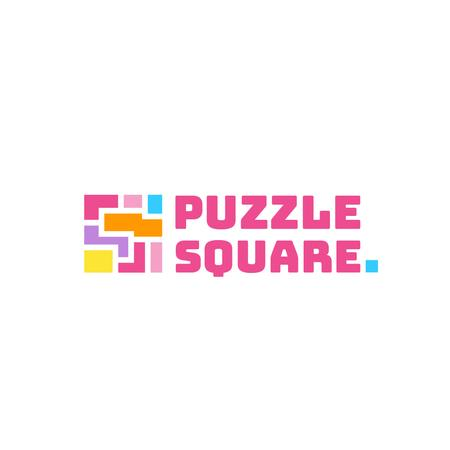 Puzzle Icon in Pink Logo Modelo de Design