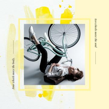 Girl with bicycle upside down