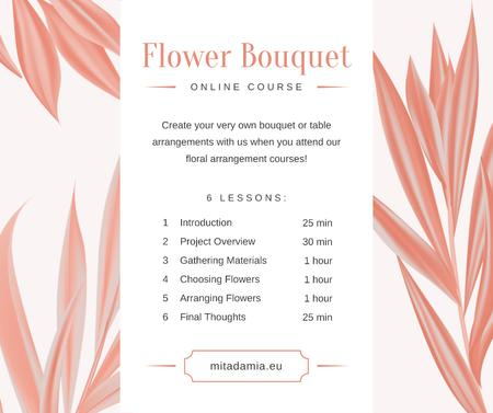 Florist Courses Promotion Pink leaves Frame Facebook Modelo de Design