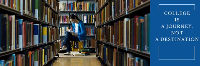Young woman reading in library Twitter Modelo de Design