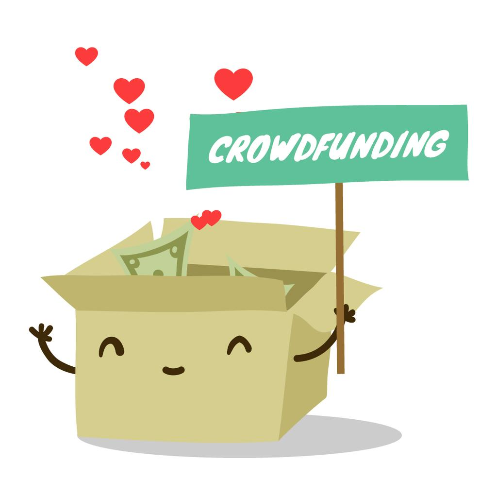 Money filling cardboard box for Crowdfunding — Créer un visuel