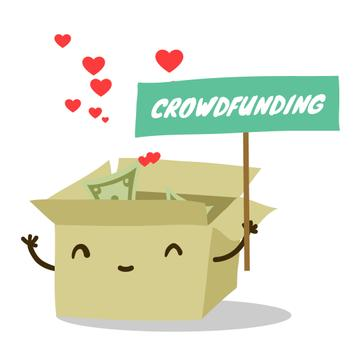 Money filling cardboard box for Crowdfunding