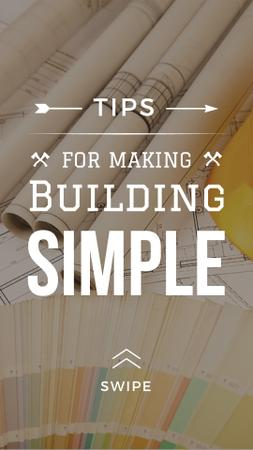 Building Tips blueprints on table Instagram Story Modelo de Design