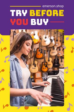 Musical Instruments Shop Invitation with Girl at Piano Pinterest – шаблон для дизайна