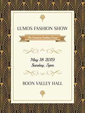 Fashion Show Invitation Art Deco Pattern | Poster Template