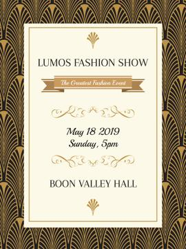 Event Poster in Art Deco Golden Pattern