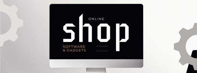 Computer on Working Table Facebook cover Modelo de Design