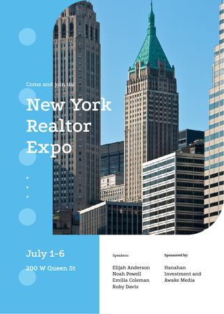 Template di design New York modern city buildings Invitation