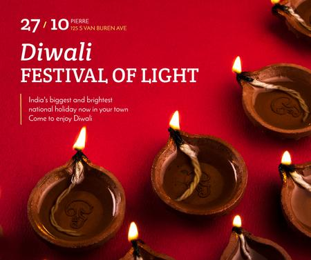 Happy Diwali celebration lamps Facebook – шаблон для дизайну