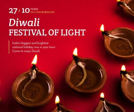 Happy Diwali celebration lamps Facebook Design Template