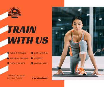 Gym Promotion Woman training on mat