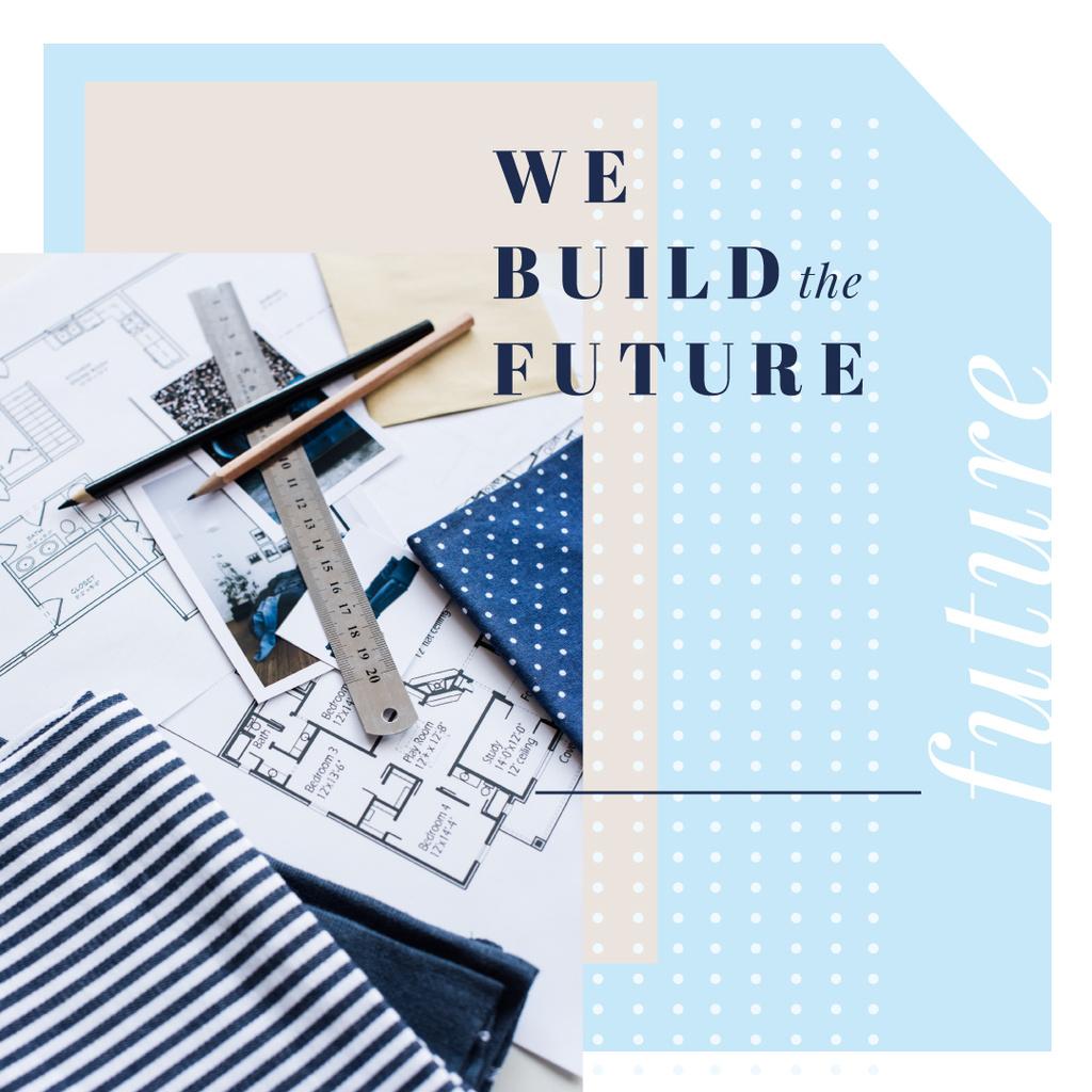 Architectural prints on table Instagram AD – шаблон для дизайну